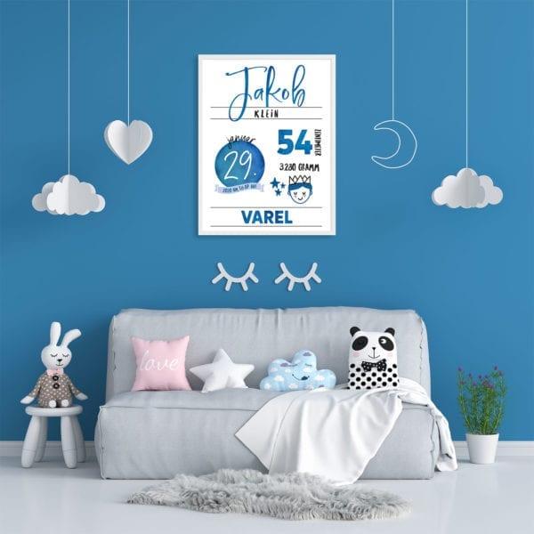 Geburtstafel blau