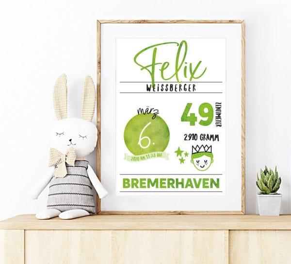 Geburtstafel grün
