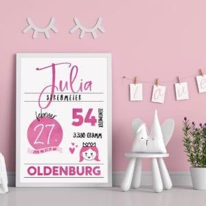 Geburtstafel pink