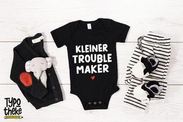 """Babybody schwarz mit Aufdruck """"kleiner Troublemaker"""""""