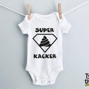 """Babybody weiß mit Aufdruck """"Superkacker"""""""